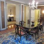 The formal dining room in Waldorf Towers Presidential Suite.