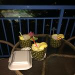 Pina coladas on the balcony