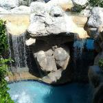 One of the hot tubs in a waterfall grotto