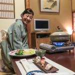 Dining in my room, served by a beautiful Japanese woman.