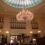 Beautiful rotunda glass ceiling in restaurant