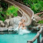 Waterslide into thermal pool