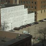 sheet music on the wall - view from room facing Marquette Ave