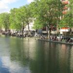 view of the Canal St. Martin in a spring afternoon