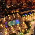The pools at Signature-MGM, seen from the balcony at night