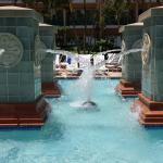 Wading pool and waterfall features