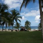 View lookign from walkpath by the rooms towards the beach.  The grass is really soft too.