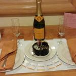 Birthday cake and Champagne from the Resort