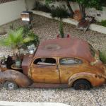 Interesting car in the garden