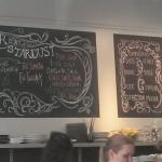 Inside of shop, menu items