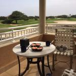 Breakfast on our living room patio