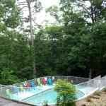 Enjoy the pool in the quiet wooded area