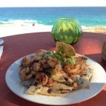 Delicious shrimp nachos at LaRoca restaurant