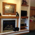 Fireplace, nice tv setup and well equipped kitchenette