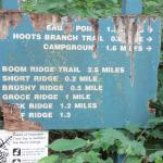 Close up of trail sign.  Needs a new one....
