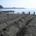 De-gritting operations on the hotel beach