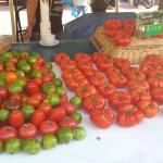 Beautiful tomatoes at the market in the old town