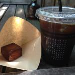 Iced coffee and baked custard served in a coffee filter - perfect combo!