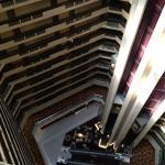 looking down from the 14h floor into the atrium.