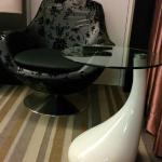 very comfortable arm chair and side table