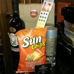 Great find!  Love the gift bag with wine and water...