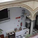 view from second floor to breakfast room