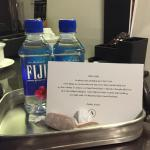 Fiji water and treats by local confectioners are provided every night