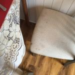 Breakfast room chair, very stained.