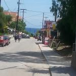 View towards beach from top of road, Alamis is next to the supermarket on right.