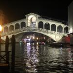 View of the Rialto Bridge from the Junior Suite at night