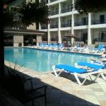 The pool is gorgeous, with shades of blue and lots of direct sun.