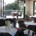 Lovely dining inside and patio