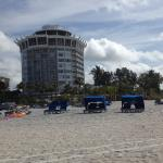 Looking back at hotel from ocean - loungers for rent - pay on the beach