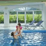 Indoor swimming pool with panorama winodw and view to the Alps