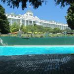 A view from the pool at the Grand Hotel