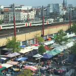 Bustling sunday market view from hotel room
