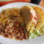 Two Taco Plate with Rice and Beans