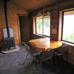 Cabin sitting area & wood stove