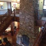 The fireplace in the lodge.