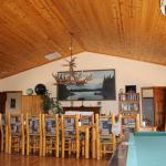 The Lodge great room is where meals are served and has a pool table, board games, puzzles