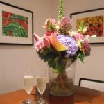 Flowers and bubbles in the club lounge