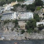 View of hotel from ferry to Capri