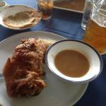 Schweinehaxen with gravy and sauerkraut (it's a special, so if they have it, order it quickly)
