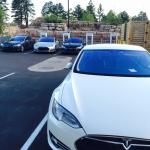 View of the Tesla charging station