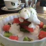 Breakfast. Kiwi and Watermelon with cream and lime shavings.