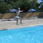 Having fun in the large pool