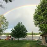early AM rainbow - view from next to cottage on the lake