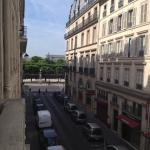 View from balcony towards Musee D'Orsay over Tuileries Gardens and Rue de Rivoli