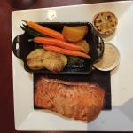 Cedar-Plank Roasted Salmon roasted vegetables & crushed potatoes, dill-mustard sauce, grilled le