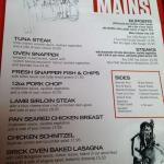 Main dishes - try the tuna!